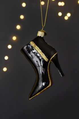 Image of the Black & Gold Stiletto Boot Christmas Decoration
