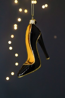 Image of the Black & Gold Stiletto Heel Christmas Decoration