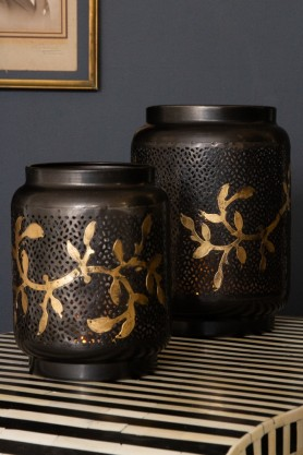Image of both sizes of the Beautiful Black & Brass Leaf Lanterns