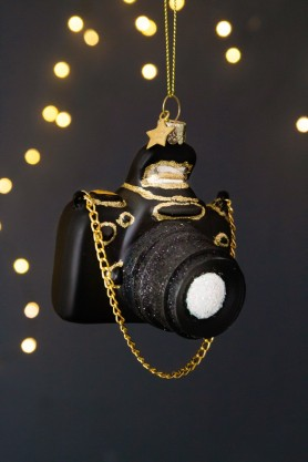 Image of the front of the Black Camera Christmas Decoration
