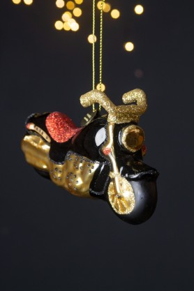 Image of the Black, Gold & Red Motorcycle Christmas Decoration