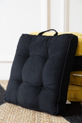 Image of the Black Corduroy Square Seat Pad Cushion