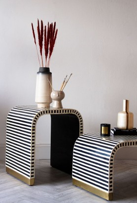 Monochrome Stripe Bone Inlay Side Table