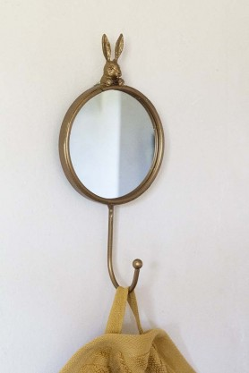 Image of the Little Round Mirror With Peeping Rabbit & Coat Hook hanging on the wall