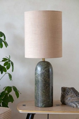 Lifestyle image of the Forest Green Marble Table Lamp With Natural Lamp Shade
