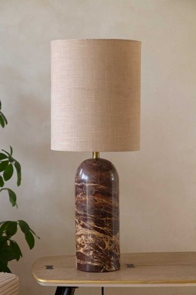 Lifestyle image of the Wine Red Marble Table Lamp With Natural Lamp Shade