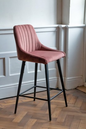 Lifestyle image of the Rose Pink Casino Velvet Bar Stool