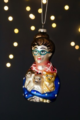 Image of the Cat Lady Hanging Christmas Decoration