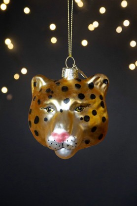 Image of the Gold Cheetah Head Christmas Decoration