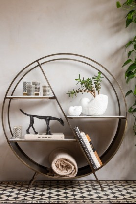 Front on lifestyle image of the Circular Brass & Marble Console Table