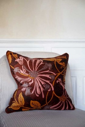Lifestyle image of the Cocoa Brown Floral Velvet Cushion