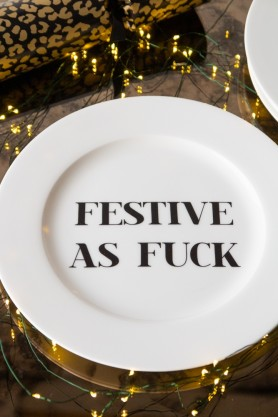 Lifestyle image of the Festive As Fuck Fine China Plate in a festive setting
