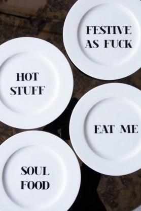 Image of the 4 different Slogan Fine China Plates
