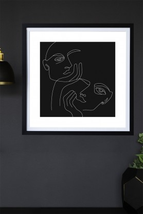 Lifestyle image of the Black Lovers Art Print hanging on a wall framed