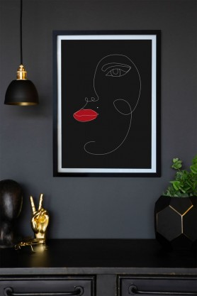Lifestyle image of the Black Munro Art Print on a wall framed