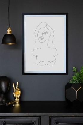 Lifestyle image of the White Self Portrait Art Print hanging on a wall framed