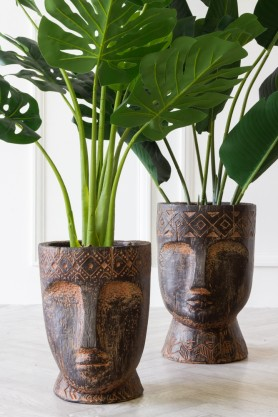 Image of the Small & Large Giant Clay Face Flower Pots