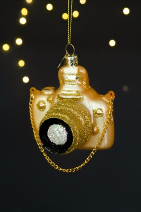 Image of the Gold Camera Christmas Decoration