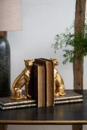Image of both the Gold Cheetah Bookends