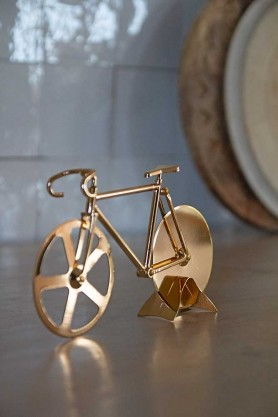 Image of the Gold Fixie Bicycle Pizza Cutter