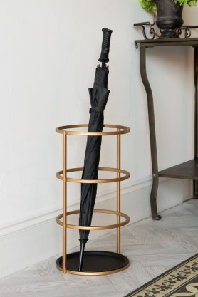 Lifestyle image of the Gold Hoop Umbrella Stand