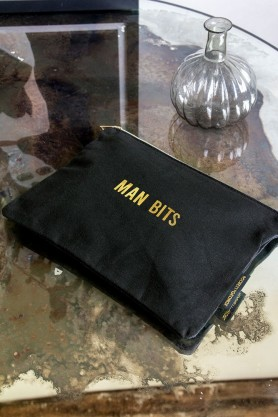 Lifestyle image of the Black Cotton Flawless Pouch Make Up Bag