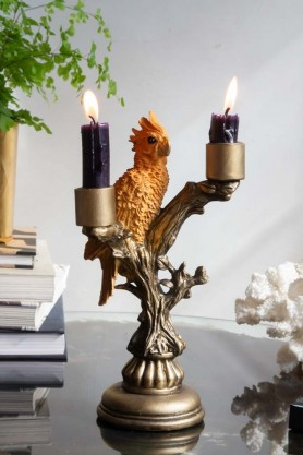 Lifestyle image of the Golden Cockatoo Perched In A Tree Candle Holder