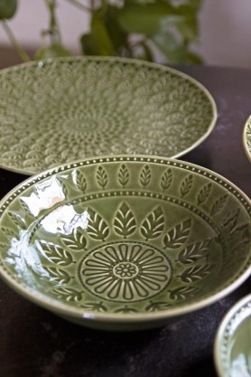 Lifestyle image of the Moss Green Fern Leaf Design Medium Bowl