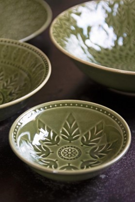 Lifestyle image of the Moss Green Leaf Design Mini Bowl