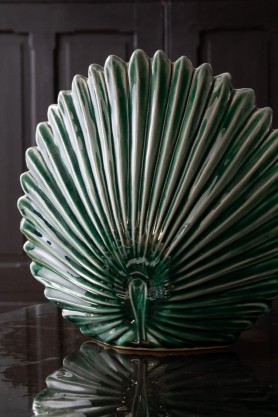 Image of the Green Palm Leaf Stoneware Vase