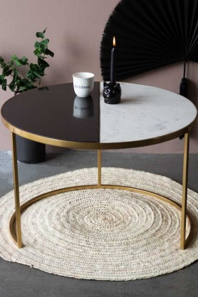 Lifestyle image of the Half Black & Half White Marble Coffee Table