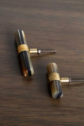 Image of both the Small & the Large Horn & Brass Drawer Handle / Door Knob