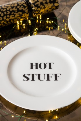 Lifestyle image of the Hot Stuff Fine China Plate in a festive setting