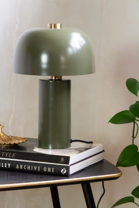 Lifestyle image of the Khaki Green Retro Cylinder Table Lamp