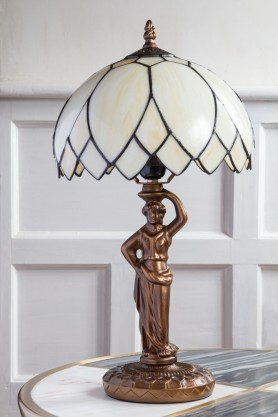 Lifestyle image of the Art Deco Lady Lamp with Leaded Style Glass Shade