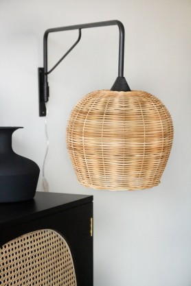 Angled image of the Large Directional Wall Light with Sphere Wicker Shade