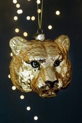 Close-up image of the Large Gold Tiger Head Christmas Decoration