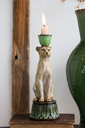 Lifestyle image of the Serene Leopard Candle Holder