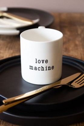 Lifestyle image of the fine china Love Machine Mug