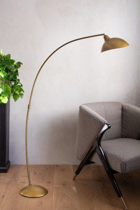 Lifestyle image of the Manhattan Gold Metal Floor Lamp
