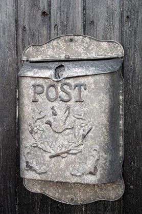 Angled image of the Metal Letter Box With Bird Design