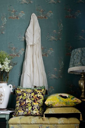 Lifestyle image of the Mind The Gap Chinoiserie Wallpaper in Mint
