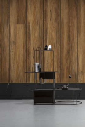 Image with Black NLXL Wainscoting Panel Border Wallpaper & Oak Wood Panel Wallpaper