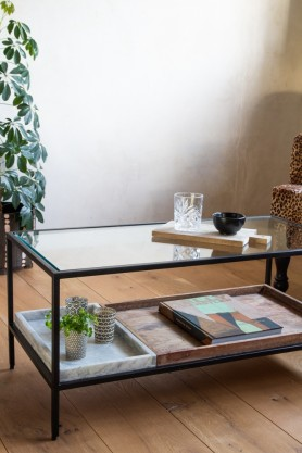 Close-up lifestyle image of the Multi-Tray Marble & Mango Wood Coffee Table