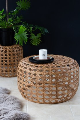 Lifestyle image of the Large Natural Woven Cane Coffee Table/Footstool
