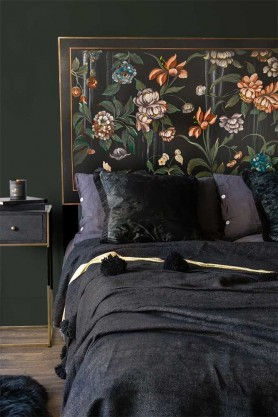 Lifestyle image of the Oriental Black Floral Headboard with Dark Cushions