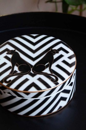 Lifestyle image of the Pair Of Panthers Chevron Trinket Box with the lid on