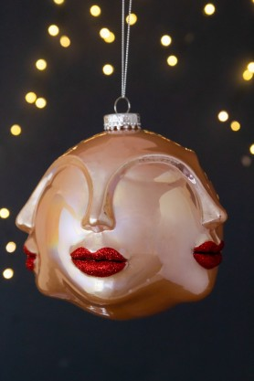 Image of the Pearlescent Multi Faces With Red Glitter Lips Christmas Tree Hanging Bauble
