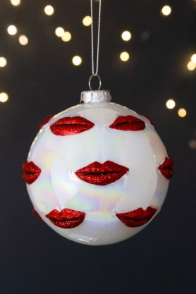 Image of the Pearlescent Multi Red Glitter Lips Christmas Tree Hanging Bauble