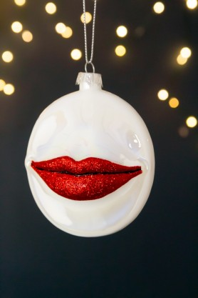 Image of the Pearlescent Red Glitter Lips Christmas Tree Hanging Bauble